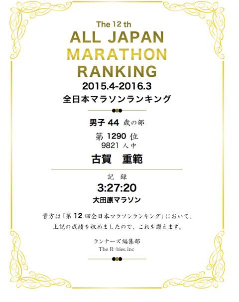 全日本マラソンランキング(2015.4〜2016.3)